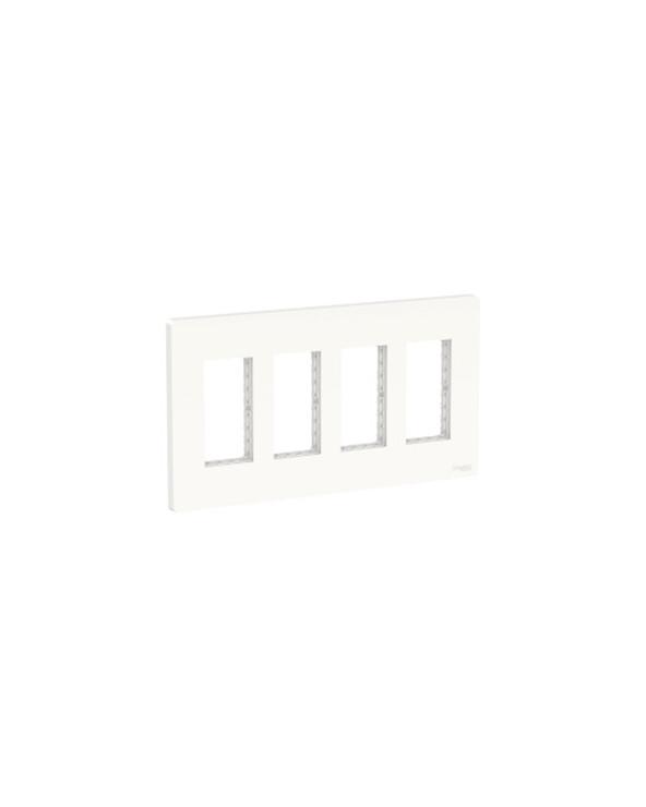Unica - support + plaque boîte concentration - 4 col de 2 mod - Blanc SCHNU024418 Prises et interrupteurs