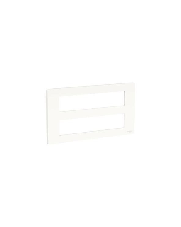 Unica - support fixation +plaque finition boîte concent 2 rang 10 mod - Blanc an SCHNU021020 Prises et interrupteurs