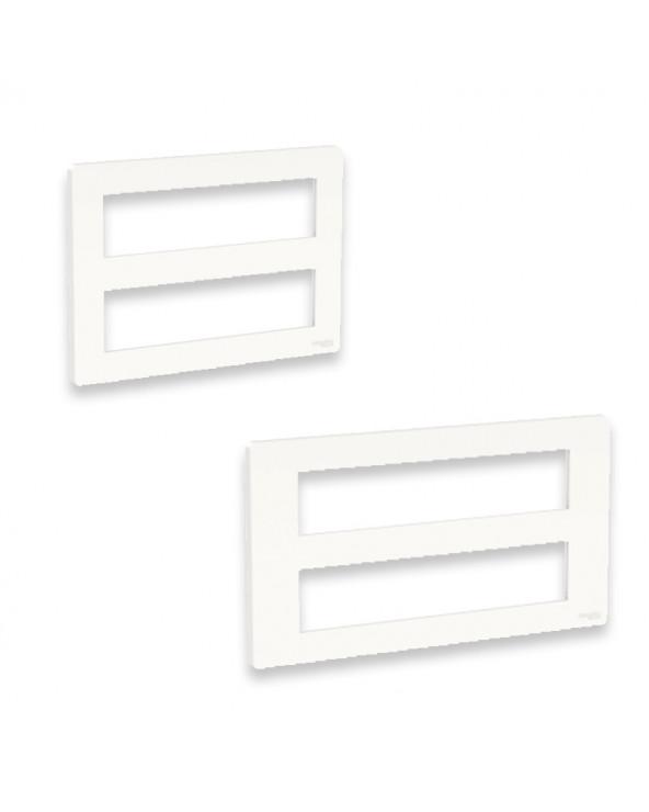 Unica - support fixation +plaque finition boîte concent 2 rang 8 mod - Blanc ant SCHNU021820 Prises et interrupteurs