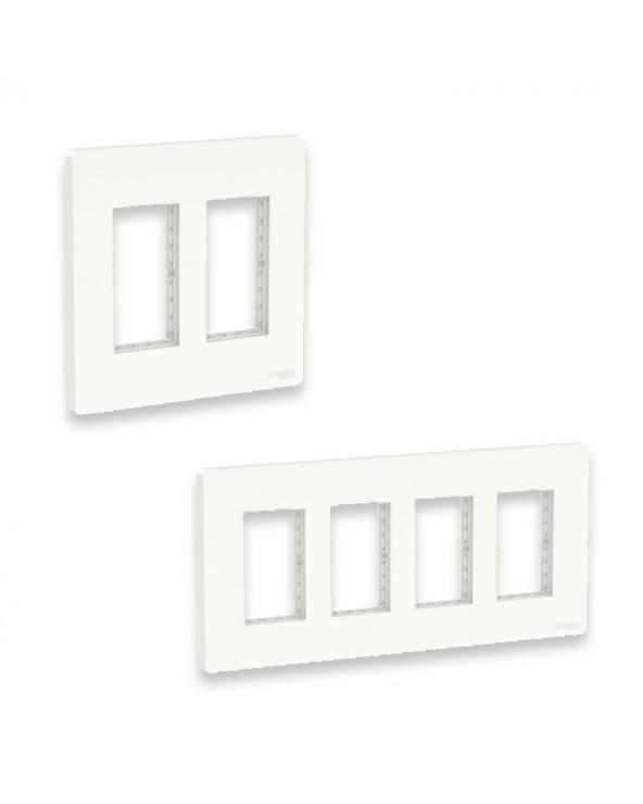 Unica - support + plaque boîte concentration - 2 col de 2 mod - Blanc SCHNU022418 Prises et interrupteurs